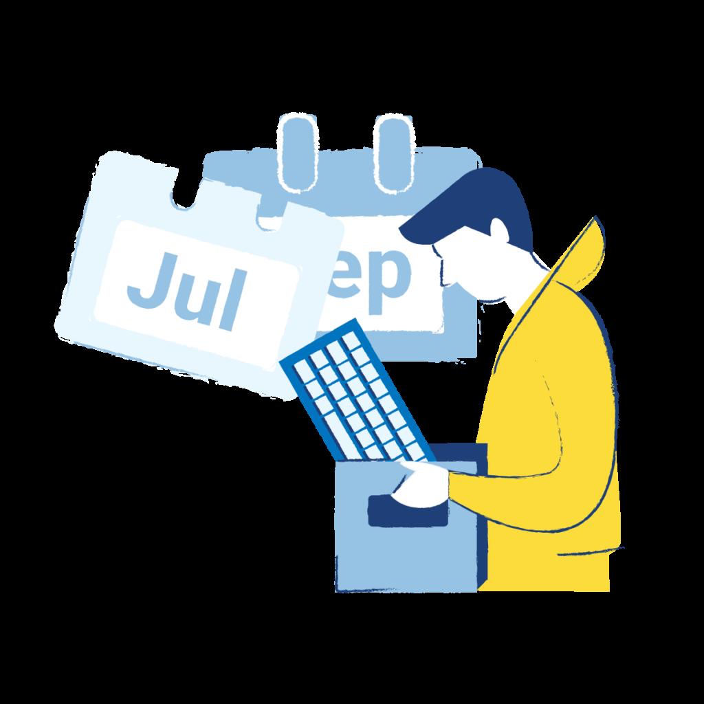 Grafik: Ein gezeichneter Mann trägt eine Kiste mit einer Tastatur darin. Im Hintergrund befinden sich Kalenderblätter.