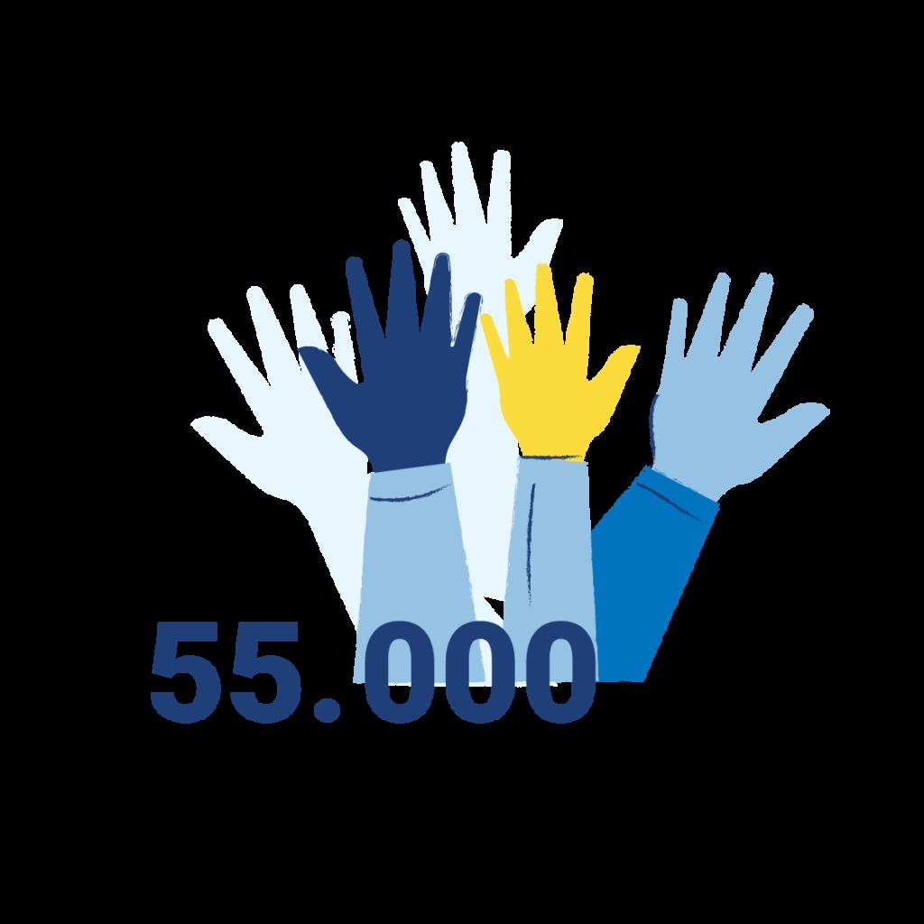Grafik: Mehrere gezeichnete Hände werden in die Höhe gehalten. Davor steht groß die Zahl 55.000.