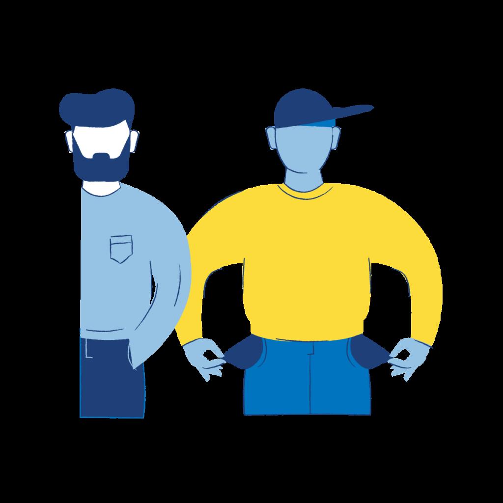 Grafik: Zwei gezeichnete Männer stehen nebeneinander. Einer zieht seine Hosentaschen heraus. In den Taschen befindet sich nichts.