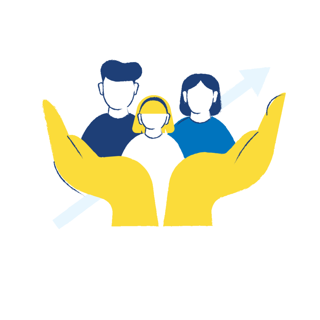 Grafik: Zwei Hände bilden einen Korb, in dem sich drei Personen, Vater, Mutter und Kind, befinden. Im Hintergrund ein Pfeil diagonal von links unten nach rechts oben.