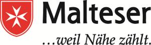Weißes Kreuz auf Rotem Schild. Logo der Malteser.